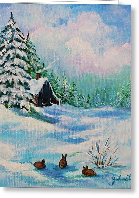 Greeting Card featuring the painting Rabbits Waiting For Spring by Bob and Nadine Johnston