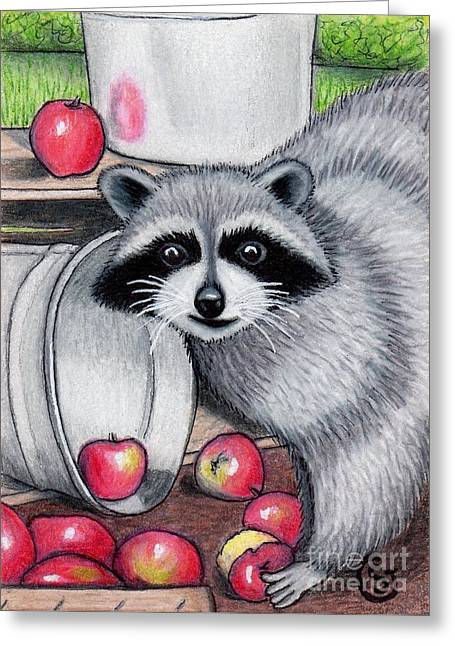 Raccoon -- Caught In The Act Greeting Card by Sherry Goeben