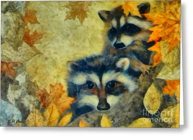 Raccoons  Greeting Card by Elizabeth Coats