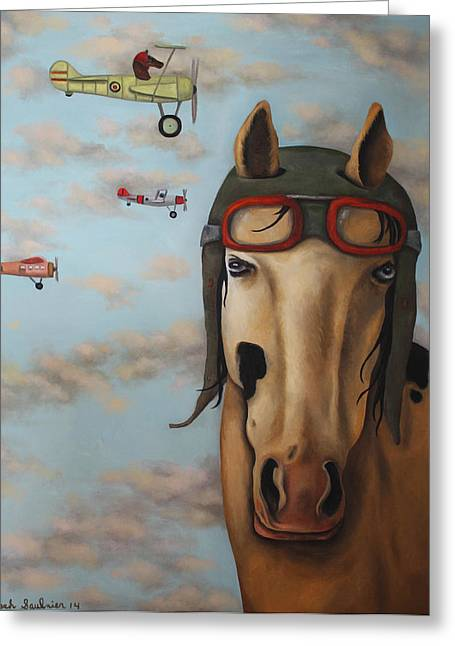 Race Horse Greeting Card by Leah Saulnier The Painting Maniac