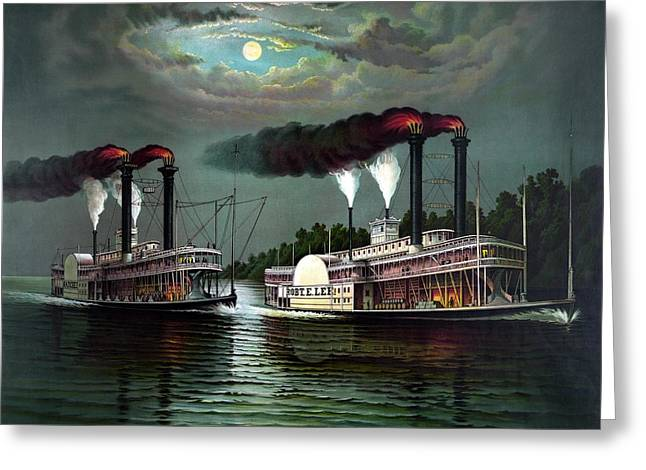 Race Of The Steamers Robert E Lee And Natchez Greeting Card