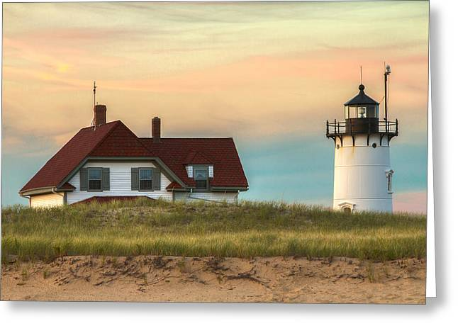 Race Point Light At Sunset Greeting Card by Brian Caldwell
