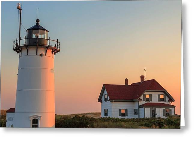 Race Point Lighthouse Square Greeting Card by Bill Wakeley