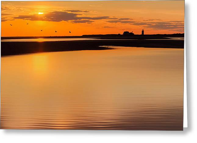 Race Point Silhouette Square Greeting Card by Bill Wakeley