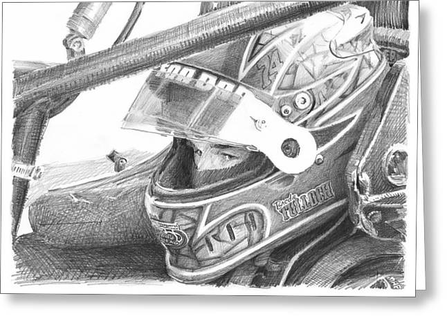 Racecar Driver Pencil Portrait  Greeting Card by Mike Theuer