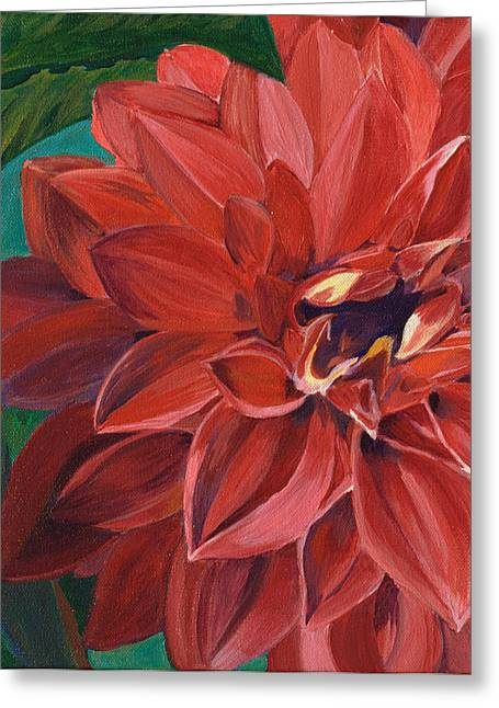 Greeting Card featuring the painting Rachael's Dahlia by Jodi Terracina