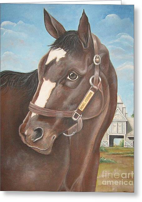 Greeting Card featuring the painting Rachel Alexandra At Stonestreet Farms by Patrice Torrillo