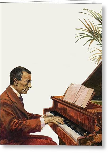 Rachmaninoff Playing The Piano Greeting Card by Andrew Howat