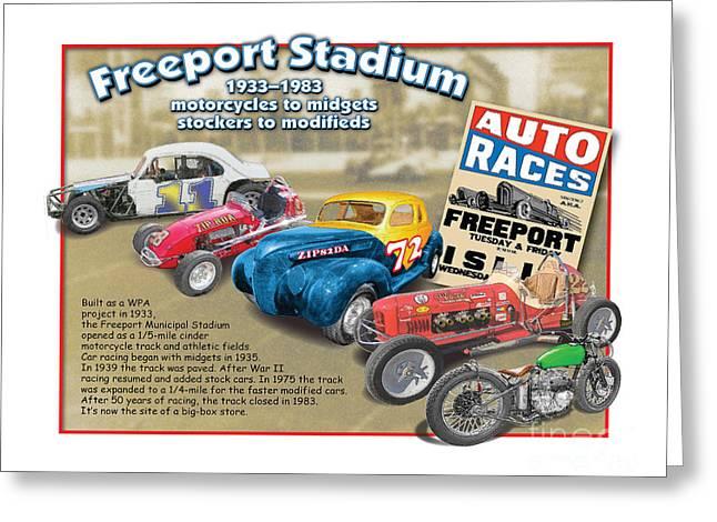 Racing At Freeport Greeting Card