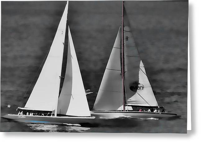 Racing At Sea Greeting Card by Pamela Blizzard