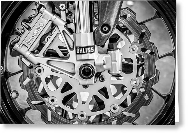 Racing Bike Wheel With Brembo Brakes And Ohlins Shock Absorbers - Square - Black And White Greeting Card by Ian Monk