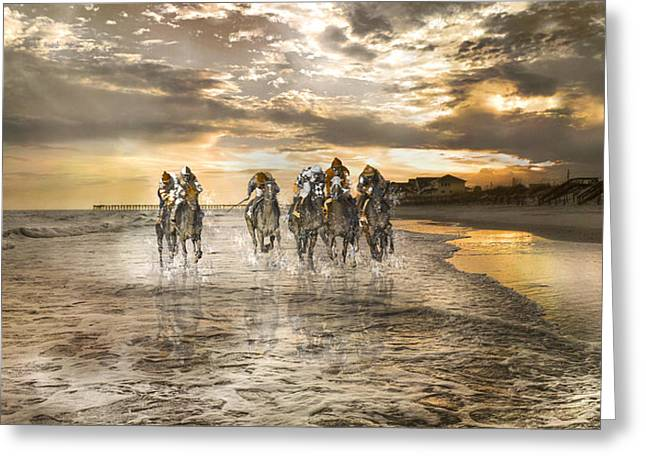 Racing Down The Stretch Greeting Card by Betsy Knapp