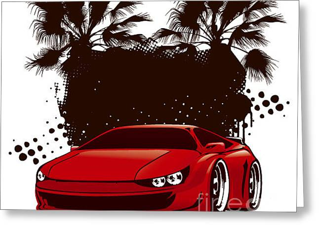 Racing Grunge Shield With Red Sport Greeting Card by Locote