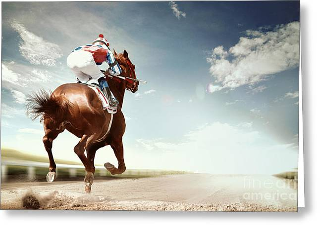 Racing Horse Coming First To Finish Greeting Card