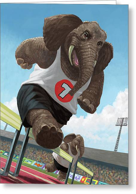 Racing Running Elephants In Athletic Stadium Greeting Card