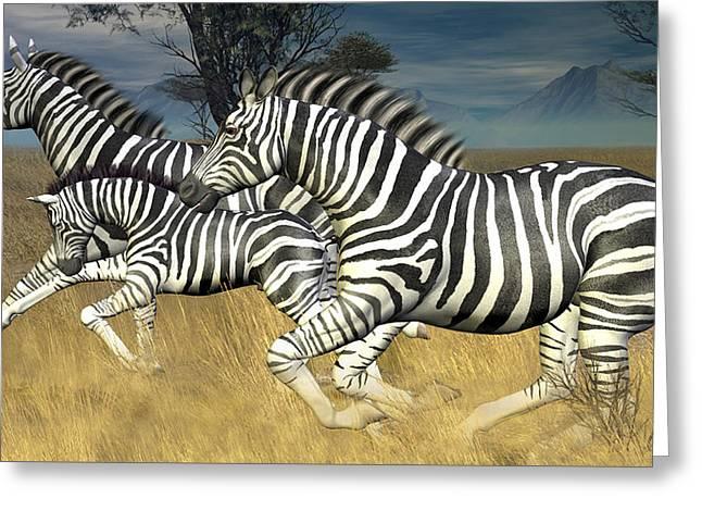 Greeting Card featuring the digital art Racing Stripes by Jayne Wilson