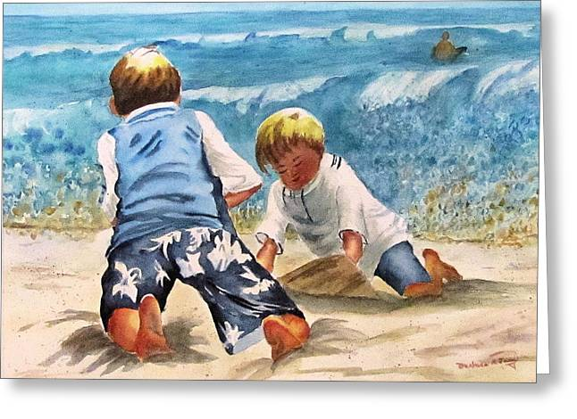 Racing The Tide Greeting Card by Barbara Jung