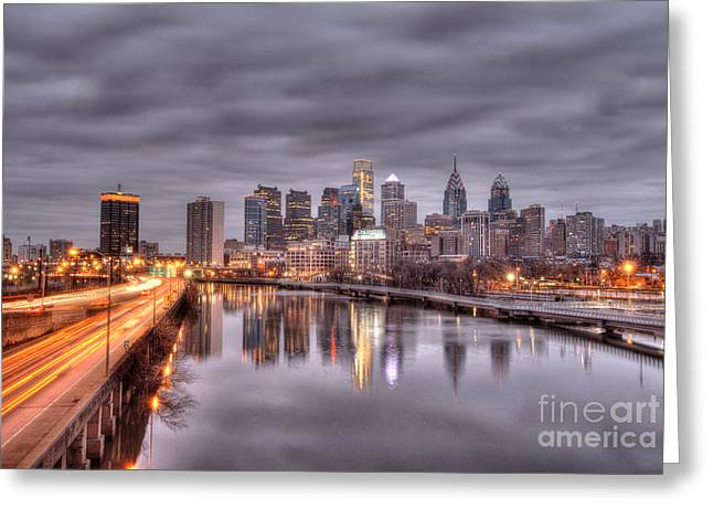 Racing To The City Lights - Philly Greeting Card by Mark Ayzenberg