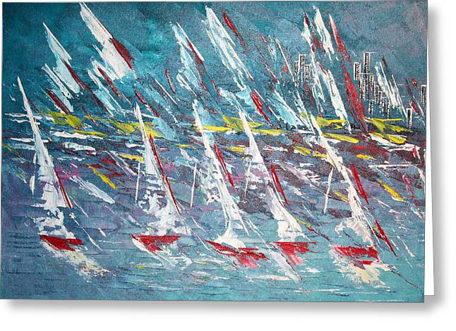 Racing To The Limits - Sold Greeting Card