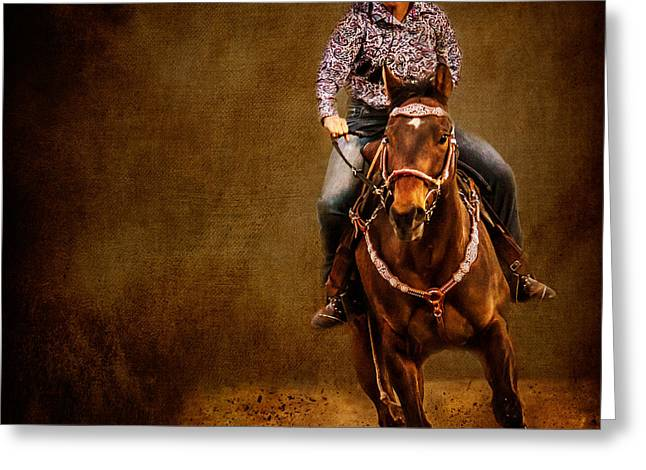 Racing To Win Greeting Card by Eleanor Abramson