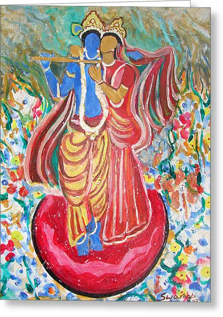 Greeting Card featuring the painting Radha And Krishna by Anand Swaroop Manchiraju