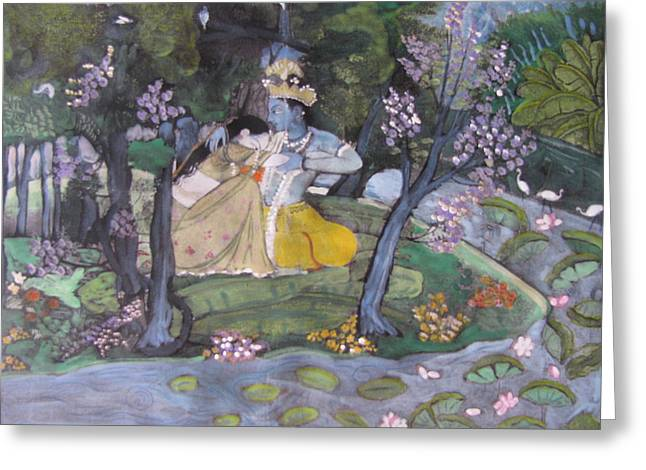 Greeting Card featuring the painting Radha And Krishna by Vikram Singh