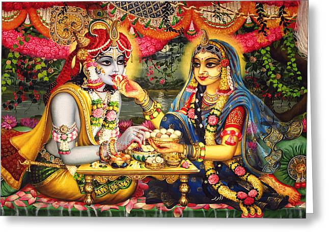 Radha Krishna Bhojan Lila On Yamuna Greeting Card by Vrindavan Das