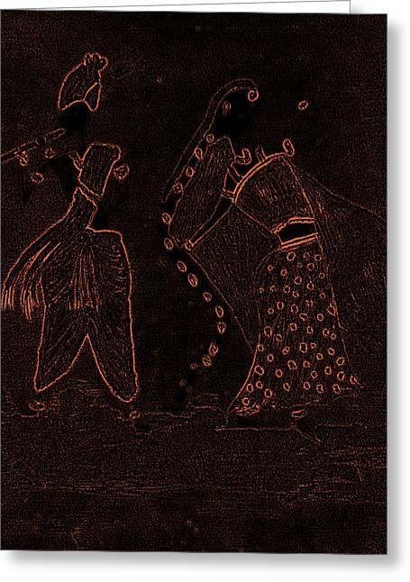 Radha Krishna Dancing Greeting Card
