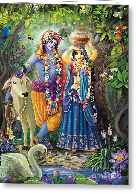 Radha-krishna Radhakunda Greeting Card by Lila Shravani