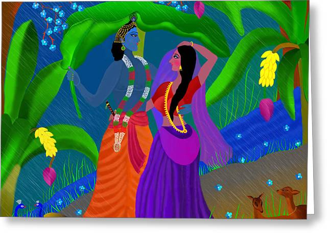 Radha Likes Rain Greeting Card by Latha Gokuldas Panicker