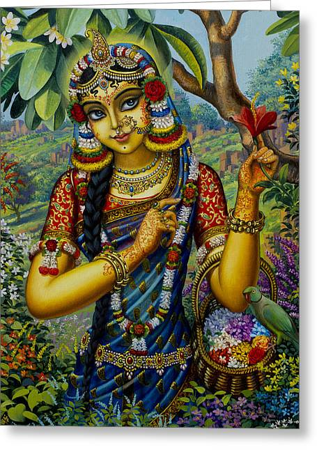 Radha On Govardhan Hill Greeting Card