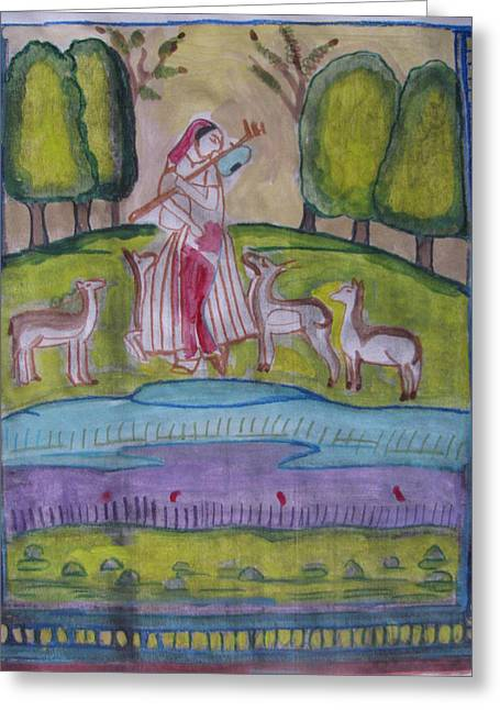 Greeting Card featuring the painting Radha by Vikram Singh