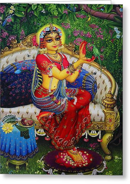 Radha With Parrot Greeting Card