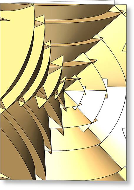 Radial Edges - Gold Greeting Card by Stephen Younts