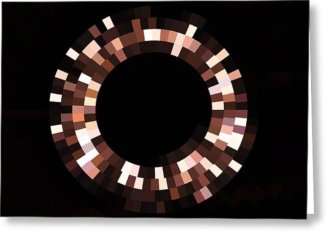 Radial Mosaic In Brown Greeting Card by Todd Soderstrom