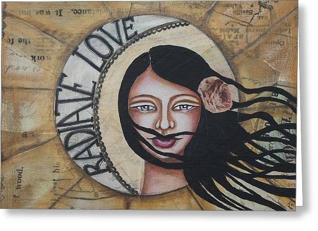 Radiate Love Inspirational Mixed Media Folk Art Greeting Card