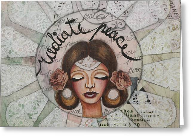 Radiate Peace Inspirational Mixed Media Folk Art  Greeting Card