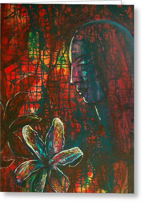 Greeting Card featuring the painting Radiating Light by Mini Arora