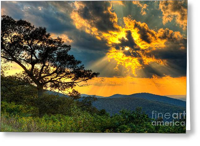 Radical Blue Ridge Sunset  I Greeting Card by Dan Carmichael