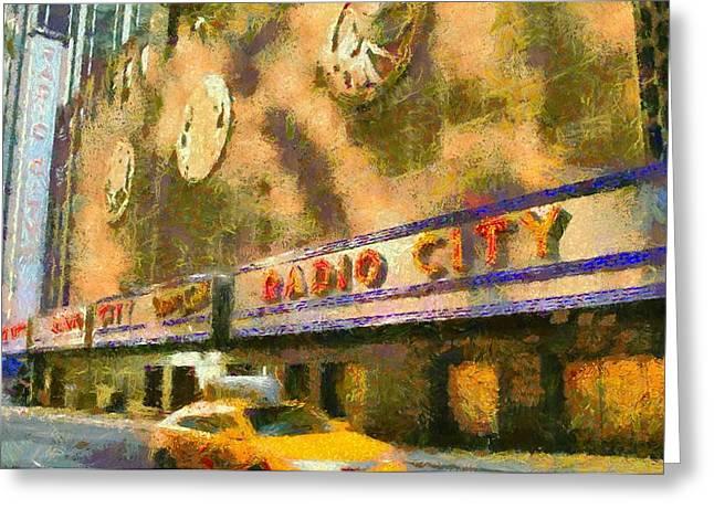 Radio City Music Hall And Taxis Greeting Card
