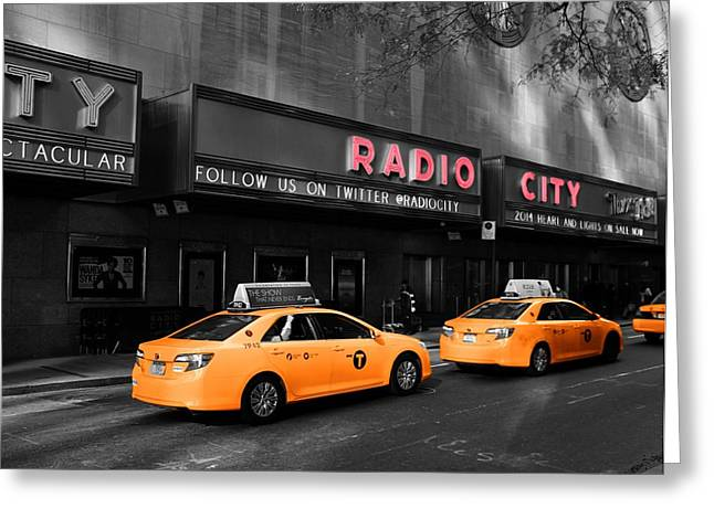 Radio City Music Hall And Taxis In New York City Greeting Card