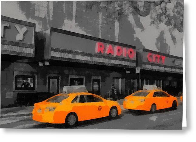 Radio City Music Hall And Taxis Pop Art Greeting Card by Dan Sproul
