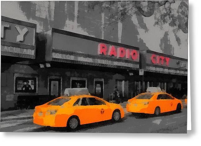 Radio City Music Hall And Taxis Pop Art Greeting Card