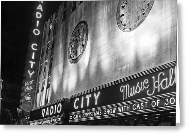 Radio City Music Hall Marquee Greeting Card by Underwood Archives