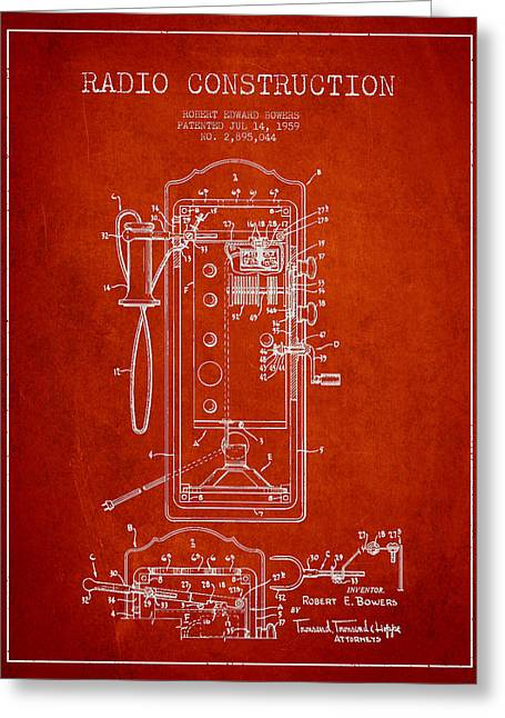 Radio Constuction Patent Drawing From 1959 - Red Greeting Card