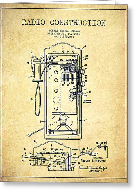 Radio Constuction Patent Drawing From 1959 - Vintage Greeting Card