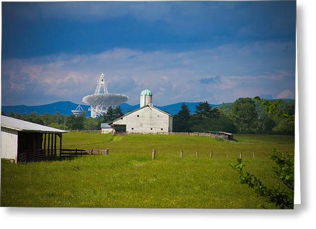 Radio Telescope At The Farm Greeting Card by Daniel Houghton