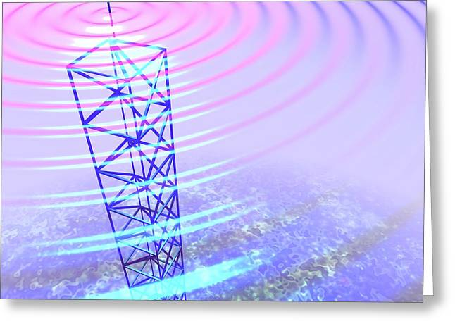 Radio Waves And Transmission Tower Greeting Card