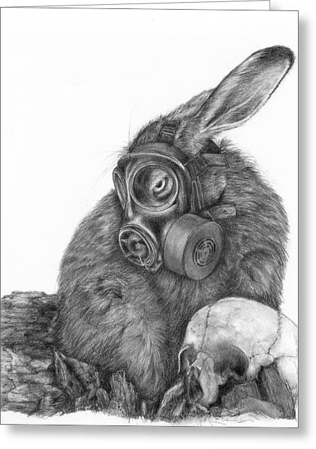 Greeting Card featuring the drawing Radioactive Black And White by Penny Collins