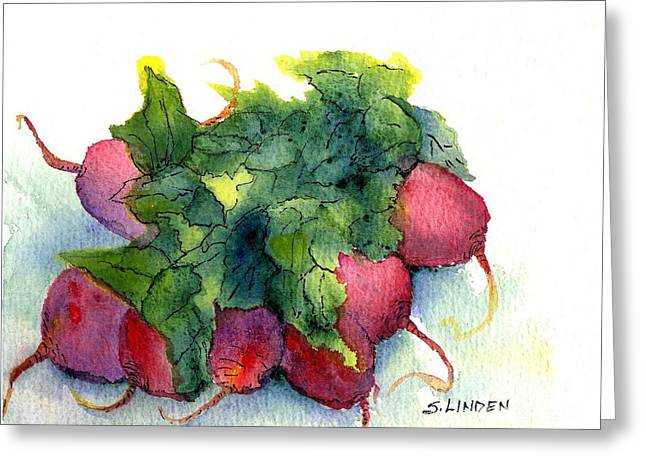 Greeting Card featuring the painting Radishes by Sandy Linden